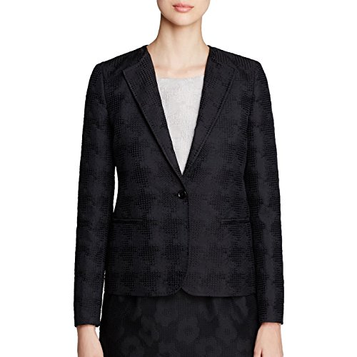 Max Mara Women's Marica Jacquard One Button Blazer Sz 2 Black