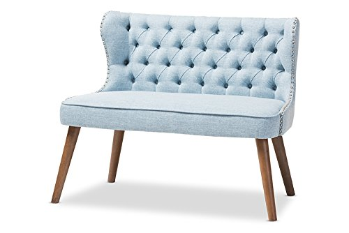 Baxton Studio Sydney Walnut Wood Button-Tufting with Nailheads Trim 2-Seater Loveseat Settee, Light Blue
