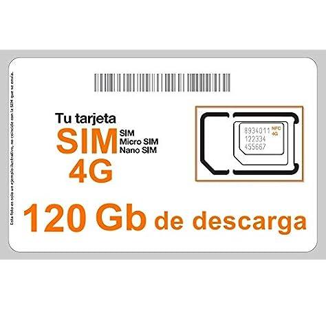 Tarjeta SIM Internet 4G/3G, Incluye 120 GB de Descarga, 1 Mes de conexión.: Amazon.es: Electrónica