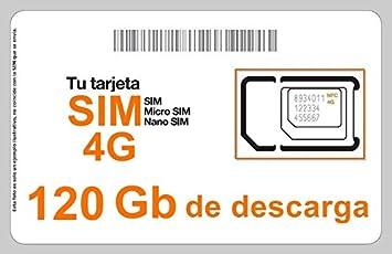 Tarjeta SIM Internet 4G/3G, Incluye 120 GB de Descarga, 1 ...