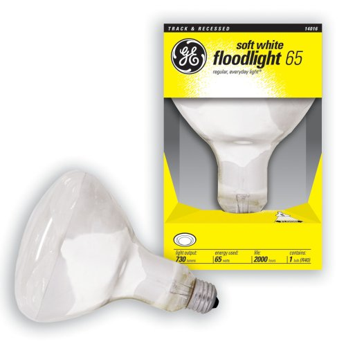 GE 14016-6 65 Watt Floodlight BR40 Light Bulb, Soft White, 6-Pack