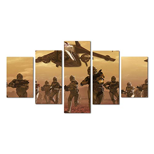 Mingting - 5 Pieces Modern Canvas Pictures Star Wars The Clone Wars Geonosis Battle Multi Piece Art Collage On Brick Wall Home Decor Artwork (12x20inchX2,12x28inchX2,12x32inchX1 no Frame) (Star Wars Battle 5 Piece Canvas Painting)