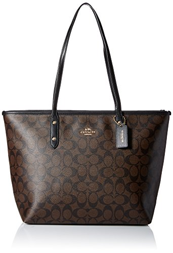 City Zip Tote Brown/Black 3818 (Signature Large Tote)