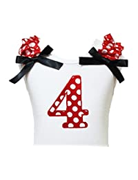 Petitebella Birthday Dress Red Polka Dot 4th White Cotton Shirt Girl Blouse 1-8y