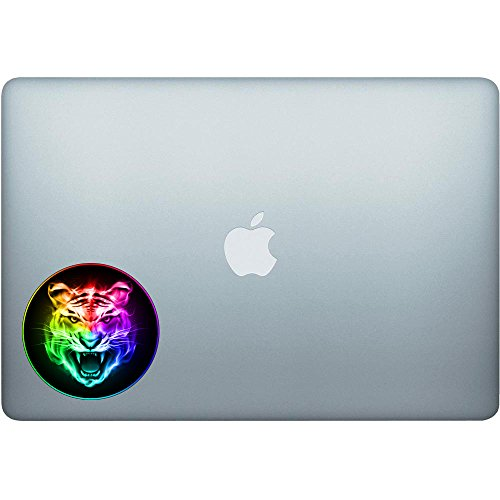Rainbow Tiger Head (Round Border) - 5 Inch Full Color Decal for Macbooks or Laptops - Proudly Made in The USA from Adhesive Vinyl