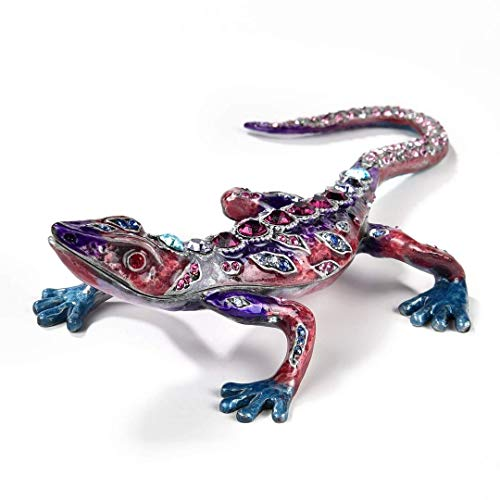 (ALEXANDER KALIFANO Jeweled Crystal Gecko Gift Box, Made with Swarovski Elements Crystals, Amethyst)