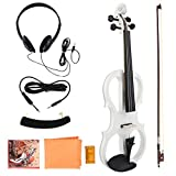 Electric Violin 4/4 Full Size, Electric Violin Wood Musical Instrument 4/4 Violin Musical Instrument Gift With Rosin Headphone Bow Shoulder Rest(White)