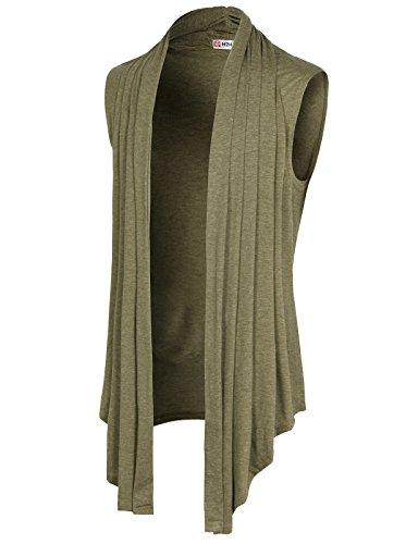 Lightweight Sleeveless (H2H Men Shawl Collar Open Front Asymetric Hem Sleeveless Cardigan Vest HEATHERBEIGE US M/Asia L (CMOCASL01))