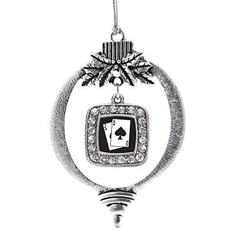 Inspired Silver - Blackjack Charm Ornament - Silver Square Charm Holiday Ornaments with Cubic Zirconia Jewelry