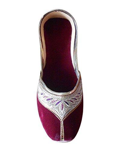 Kalra Creations pour femme traditionnelle indienne en velours avec broderie ethnique Chaussures Bordeaux hOwuHWt327