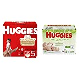 BUNDLE HUGGIES Little Snugglers Baby Diapers, Size 5, 120 Count & HUGGIES Natural Care Unscented Baby Wipes, Sensitive, 6 Disposable Flip-top Packs (288 Total Wipes)