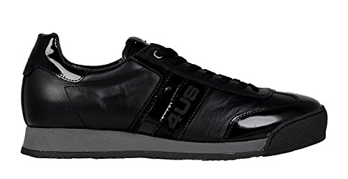 4US Cesare Paciotti QQGU1RF Sneakers Basse Uomo, Pelle Vernice e Camoscio, Nero
