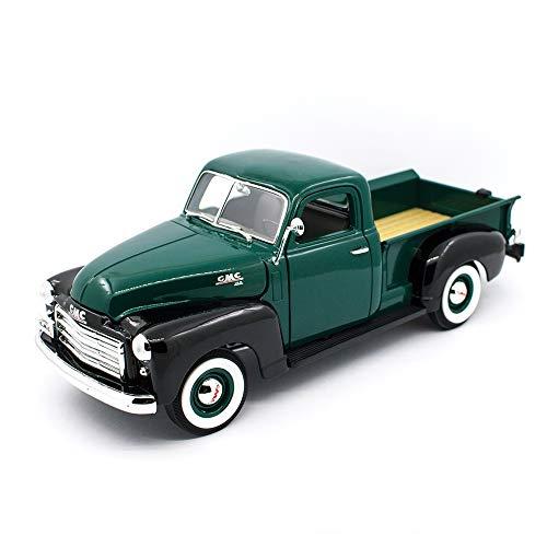 1950 GMC Pickup Truck Dark Green and Black 1/18 Diecast Model Car by Road Signature 92648