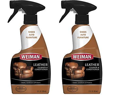 (Weiman Leather Cleaner and Conditioner - 12 Ounce - 2 Pack - UV Protection Help Prevent Cracking or Fading of Leather Couches, Car Seats, Shoes, Purses)