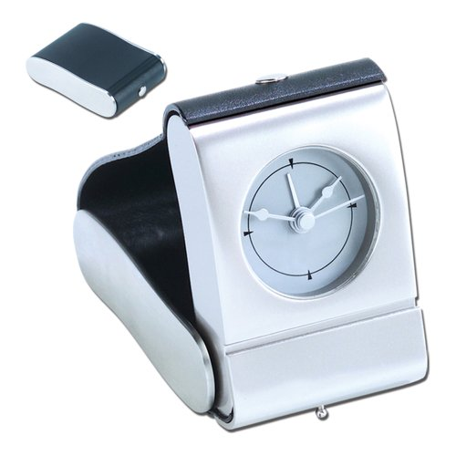 Natico Black Feaux Leather and Matte Metal Folding Travel Alarm Clock (10-82690)