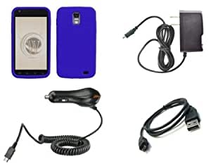 Quaroth Samsung Galaxy S II Skyrocket (AT&T) Premium Combo Pack - Blue Silicone Soft Skin Case Cover + ATOM LED Keychain...