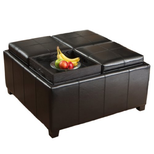 Harley Leather Black 4-Tray Top Storage Ottoman