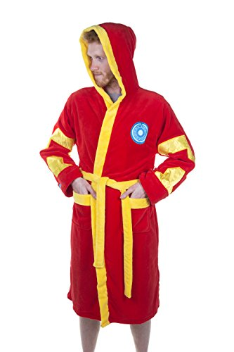 Offizielle Männer Marvel Avengers Iron Man Print Red Adult Dressing Gown Bademantel