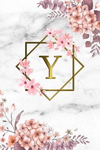 (Y: Cute Initial Monogram Letter Y College Ruled Notebook. Pretty Personalized Medium Lined Journal & Diary for Writing & Note Taking for Girls and Women - Grey Marble & Gold Pink Floral Print )