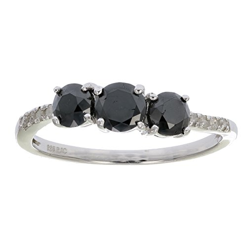1 CT 3 Stone Black and White Diamond Ring With Twist Sterling Silver In Size ()