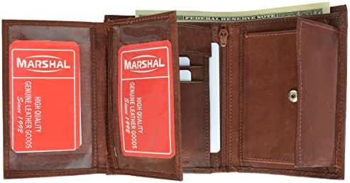 Marshal Wallet Leather Men's Hipster Flap Out Wallet Snap Pocket