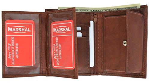 Marshal Wallet Leather Men's Hipster Flap Out Wallet Snap Pocket (Burgundy) ()