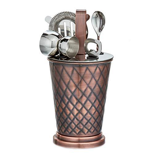 - Old Dutch 1557AC 6 Pc. Antique Copper Embossed Diamond Bar Set,