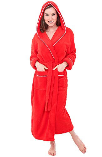 Alexander Del Rossa Womens Fleece Robe, Long Hooded Bathrobe, 3X 4X Red with White Piping (A0116RDW4X)