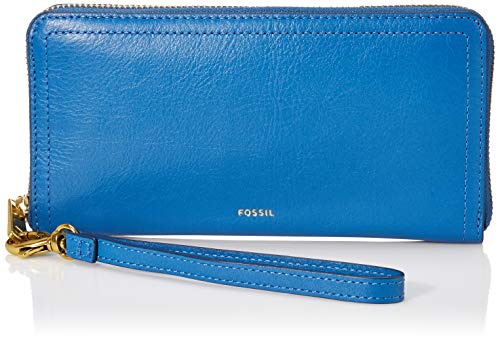 Fossil Leather Liza Zip Around Clutch Wallet With Retractable Wristlet Strap