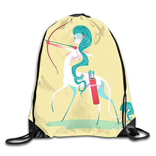 Unicorn Mohawk Indian Tribe Teal Hair Ponytail Drawstring Bag Stylish Cute Print Lightweight Sackpack Sport Gym Bundle Backpack Theme Novelty Outdoor Classic