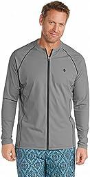 Coolibar UPF 50+ Men\'s Long Sleeve Water Jacket - Sun Protective (Large- Pomice Grey)