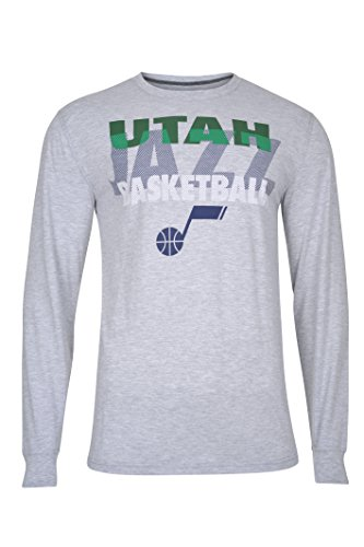 fan products of NBA Men's Utah Jazz T-Shirt Supreme Long Sleeve Pullover Tee Shirt, Large, Gray