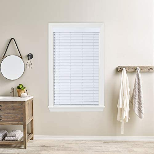 Bravada Select Superior, Cordless 2 Faux Wood Blinds Snow White, 24 Wide x 70 Length