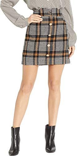J.O.A. Women's Houndstooth Scalloped Waist Mini Skirt Brown Plaid Medium -