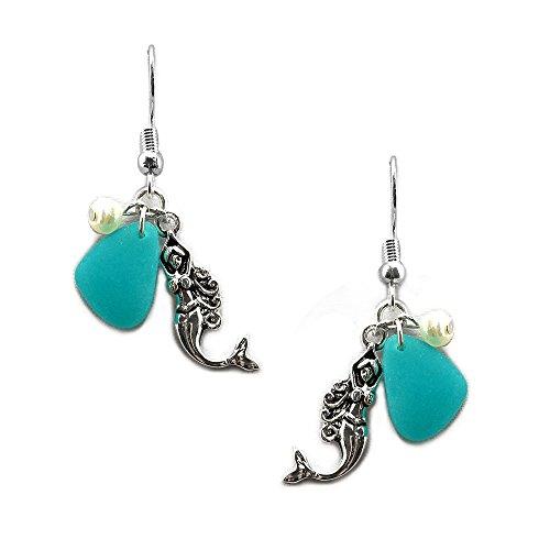 Seaglass Sealife Mermaid Dangle Pearl French Hook Earrings - Pearl And Glass Bead Earrings