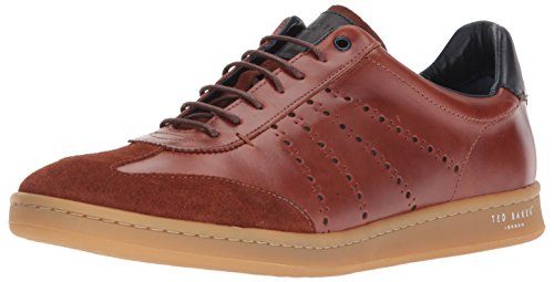 Ted Baker Men's Orlee Sneaker, Dark Tan Leather, 10 D(M) US (Ted Leather Sneakers)