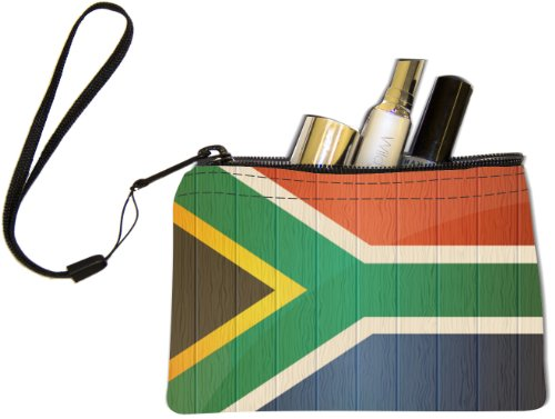 Rikki Knight South Africa Flag on Distressed Wood Design Keys Coins Cards Cosmetic Mini Clutch Wristlet by Rikki Knight