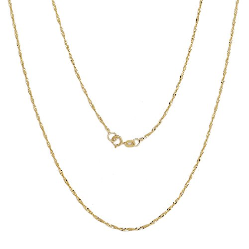 22 Inch 10k Yellow Gold Thin Singapore Chain Necklace, 0.05 Inch (1.3mm) by SL Chain Collection