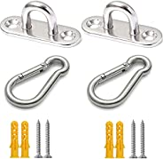 2 Pieces Stainless Steel 1.8 inch Pad Eye Plate U Hooks and 2 Pieces Snap Hook, Heavy Duty Hardware Staple Hoo