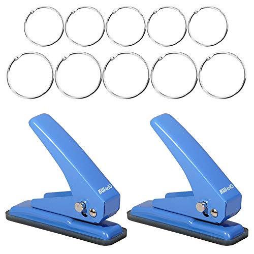 2 pcs Handheld Single Hole Punch and 10pcs Loose Leaf Binder Rings,SENHAI Paper Puncher 20 Sheets Punch Capacity 1/4