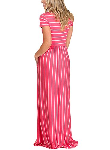 HOTAPEI Women's Summer Casual Loose Striped Long Dress Short Sleeve Pocket Maxi Dress Rosy and White