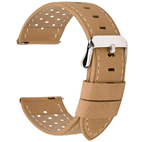 Fullmosa 5 Colors for Watch Band, Quick Release Breeze Leather Watch Strap 22mm 20mm 24mm 18mm,22mm Khaki