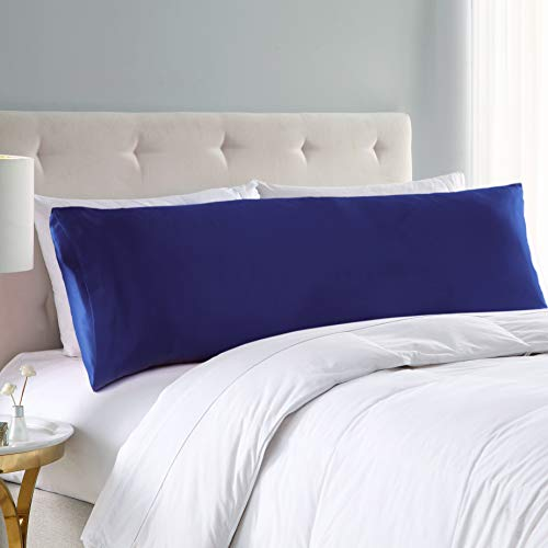 EXQ Home Satin Body Pillow Cover Navy Blue Silky Body Pillowcases with Envelope Closure 20x54 (Anti - Satin Blue Silky