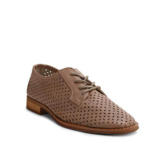 Wanted Shoes Women's Leah Perforated Cutout Lace-up Wingtip