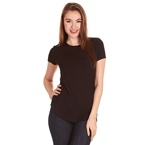 X America Crew Neck Short Sleeve Junior and Plus Size T Shirts for Women w/Pocket, Made in USA Black