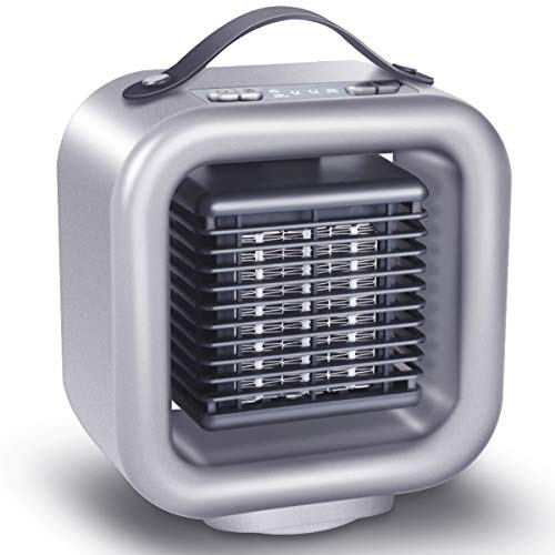 Vshow 1 Oscillating Ceramic Space, Portable Electric Heater,Personal Warming Fan with Adjustable Thermostat, Carrying Handle,Auto Shut Off for of, 8.8 x 8.4 x 5.8 inches, Silver