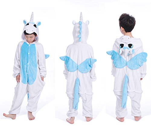 Halloween Unicorn Pajamas Animal OnePiece Kids Child Homewear Cosplay Costumes (Size 130, Blue (Halloween Costumes For Cold Weather)