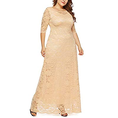 Eternatastic Womens Floral Lace 2/3 Sleeves Maxi Dress Plus Size Evening Party Dress: Clothing