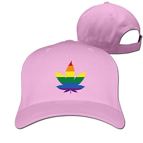 LGBT Gay Marihuana Weed Leaf Flex Fitted Ajustable Peak Cap Pink