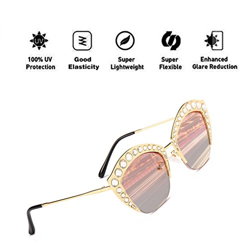 protección Decoration Polvo para con HD reflectante armadura gran tamaño Mujeres de la Gafas de Lip Lente Shape de sol ATNKE de Gafas hombres PC Moda Diamond UV400 qR4Fc